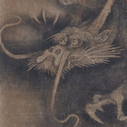 Japanese artist Soga Nichokuan (ca 1625-1660). Japanese dragon painting. Hanging scroll pair. Dragon image detail.
