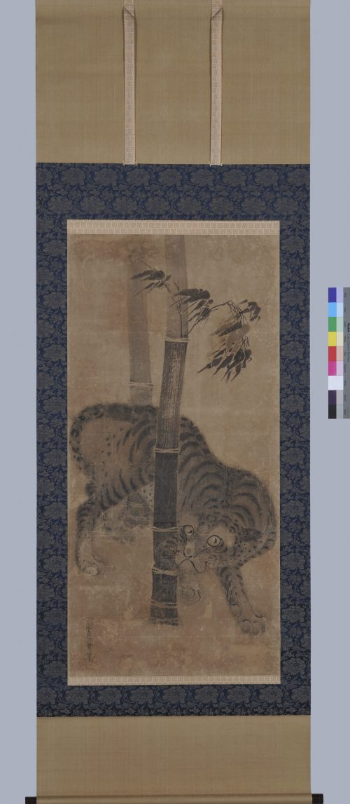 Japanese artist Soga Nichokuan (ca 1625-1660). Japanese tiger painting. Hanging scroll pair. Full scroll image.