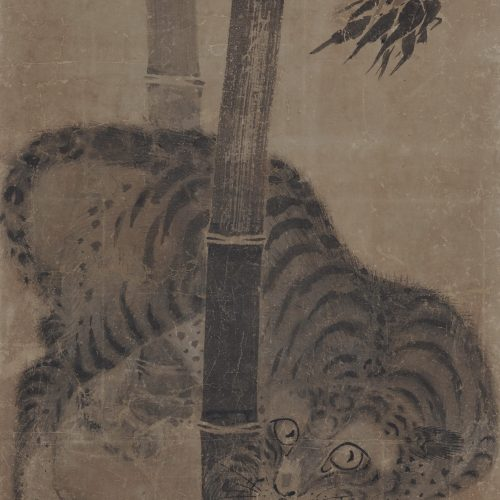 Japanese artist Soga Nichokuan (ca 1625-1660). Japanese tiger painting. Hanging scroll pair. Image of tiger scroll.