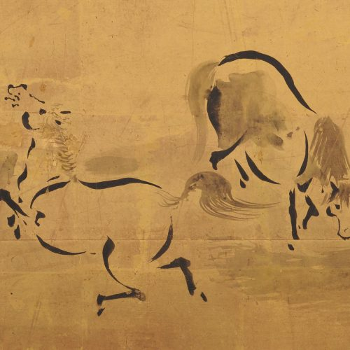 Japanese artist Kano Tanshin Morimasa (1653-1718). Japanese horse screen painting. Full screen. Detailed image.