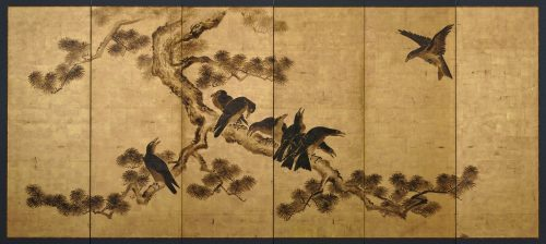 Japanese artist Kano Chikanobu (1660-1728). Crow and pine. Japanese folding screen painting. Image of full screen.