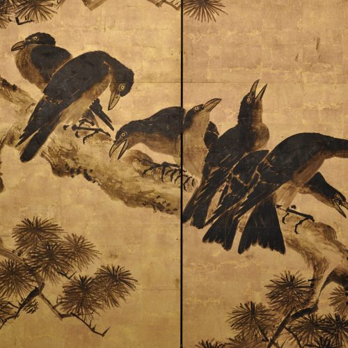 Japanese artist Kano Chikanobu (1660-1728). Crow and pine. Japanese folding screen painting. Image of detail.