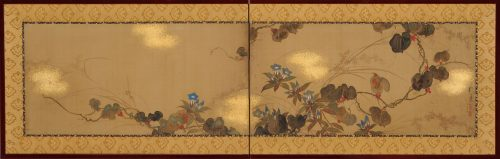 Japanese Rinpa artist Sakai Hoitsu. Rimpa school folding screen. Japanese flower painting. Image of full screen.