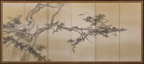 An early (circa 1900) pair of six-fold Japanese screens by Konoshima Okoku. Pine and plover. Image of Left screen image.