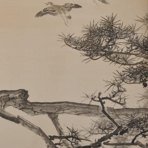 An early (circa 1900) pair of six-fold Japanese screens by Konoshima Okoku. Pine and plover. Image of Left screen detail.