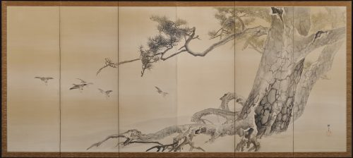 An early (circa 1900) pair of six-fold Japanese screens by Konoshima Okoku. Pine and plover. Right screen image.