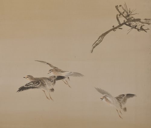 An early (circa 1900) pair of six-fold Japanese screens by Konoshima Okoku. Pine and plover. Image of right screen detail.