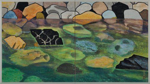 Hamada Taiji (1916-2010). Japanese river landscape screen painting. Full screen image.