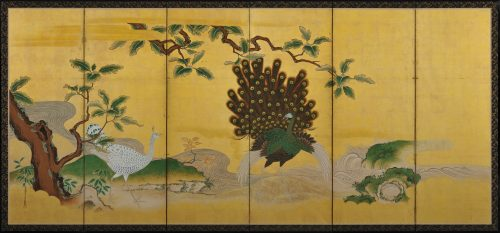 Phoenix and Peacocks. A pair of six-panel Japanese folding screens by Tsunetake Yotei (n.d.). First half of the 18th century. Kobikicho Kano school. Left screen image.