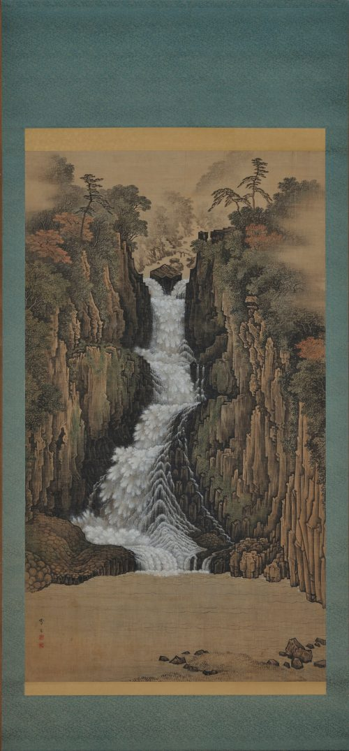 sugitani sessho (1827-1895). nachi falls. japanese landscape scroll painting. full scroll image.