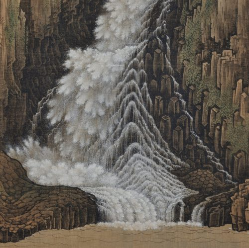 sugitani sessho (1827-1895). nachi falls. japanese landscape scroll painting. close-up image.