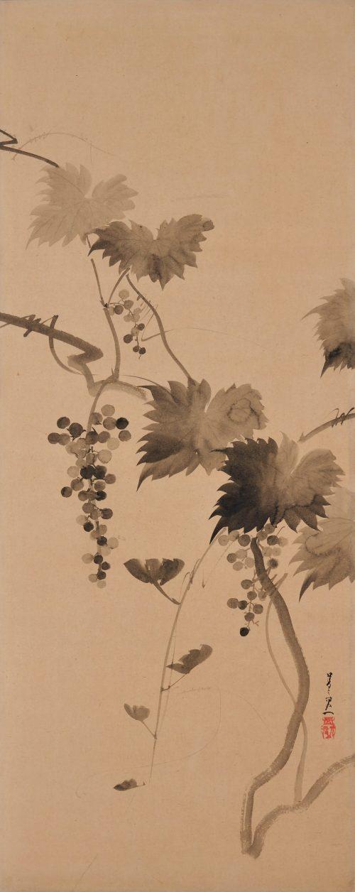 Suzuki Kiitsu (1796-1858) - japanese painting. grapevines. Seisei Kiitsu 菁々其一