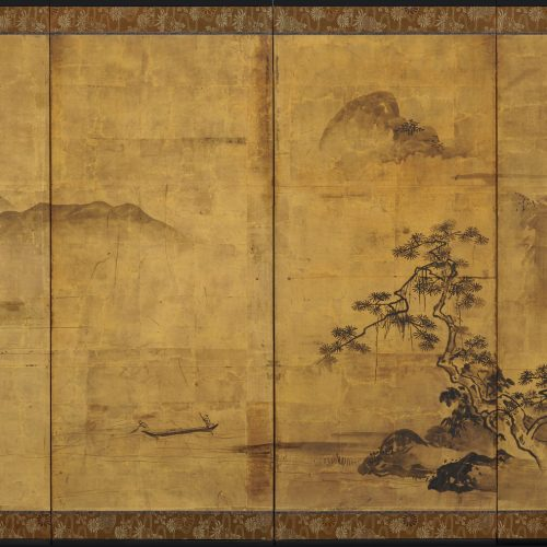 "Kiyono Yozan (fl. 1688-1704). Japanese gold leaf screen. Ink landscape. ""Views of the Xiao and Xiang"". Image."