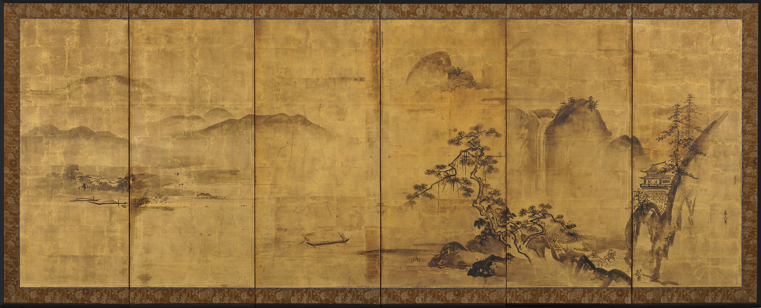 1688-1704). Japanese gold leaf screen. Ink