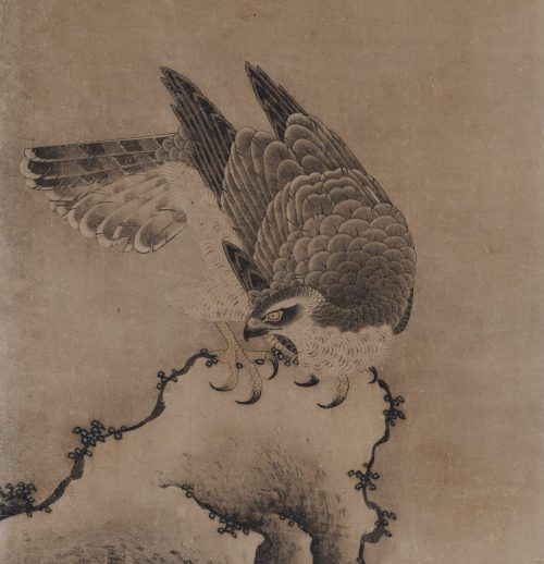Mitani Toshuku (1577-1654). Unkoku School. Japanese falcon painting. Rock and waves detail.