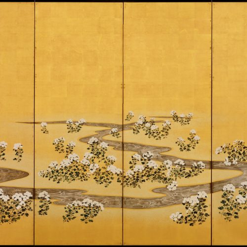 19c. Japanese Rimpa screens 'Chrysanthemum Dew from the Sweet Valley'. Image of right screen.