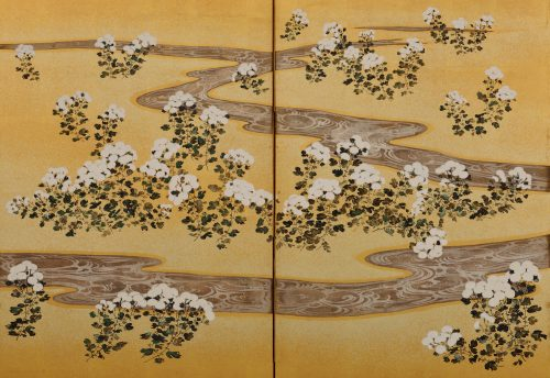 19c. Japanese Rimpa screens 'Chrysanthemum Dew from the Sweet Valley'. Right screen. Image of centre panel detail.
