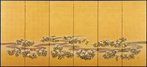 19c. Japanese Rimpa screens 'Chrysanthemum Dew from the Sweet Valley'. Left screen. Full image.
