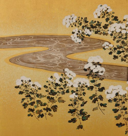19c. Japanese Rimpa screens 'Chrysanthemum Dew from the Sweet Valley'. Left screen. Image of detail of left panel.