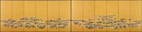 19c. Japanese Rimpa screens 'Chrysanthemum Dew from the Sweet Valley'. Image of screen pair.