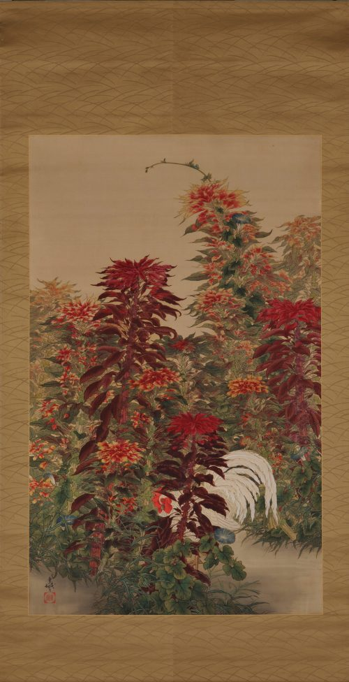 Amaranth & Rooster. Circa 1930. Japanese scroll painting. Full scroll image.