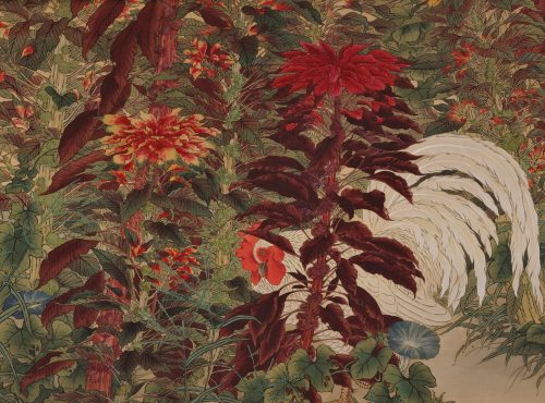 Amaranth & Rooster. Circa 1930. Japanese scroll painting. Full scroll image. Image of rooster.