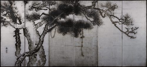 Uenaka Chokusai (1885-1977). Pine trees. Japanese folding screen. Left side. Full screen image.