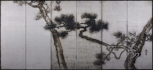 Uenaka Chokusai (1885-1977). Pine trees. Japanese folding screen. Right side. Full image.