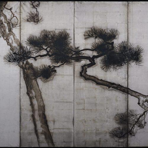 Uenaka Chokusai (1885-1977). Pine trees. Japanese folding screen. Right side. Full image.