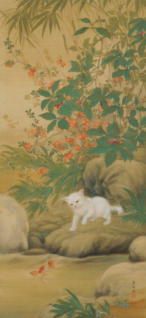 Hirose Toho (1875-1930). Japanese Taisho era scroll painting. Playful Cat. Full image.