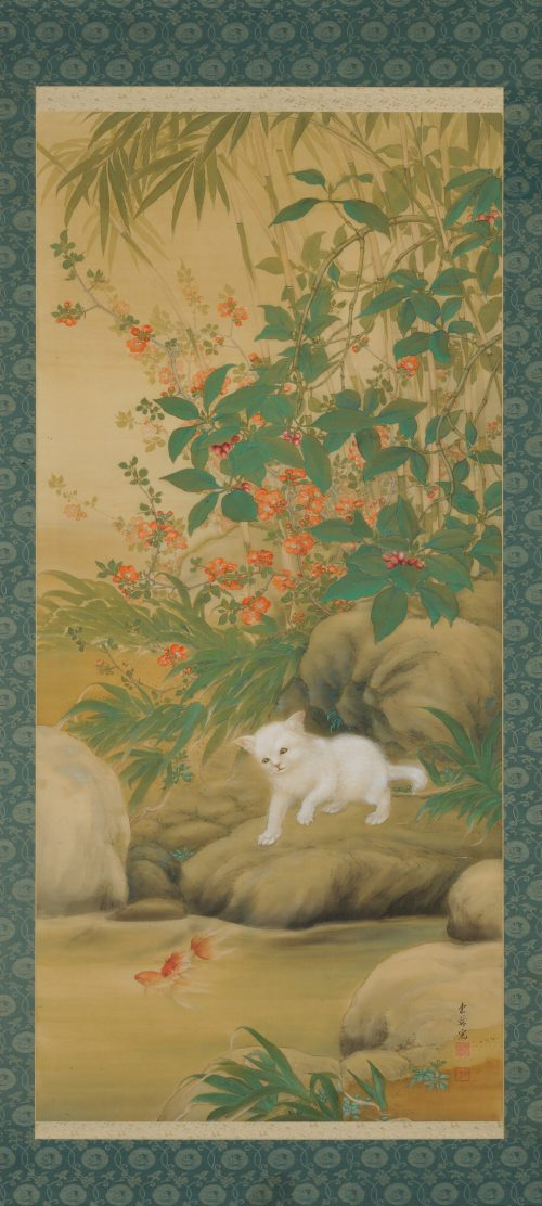 Hirose Toho (1875-1930). Japanese Taisho era scroll painting. Playful Cat. Image of full scroll.