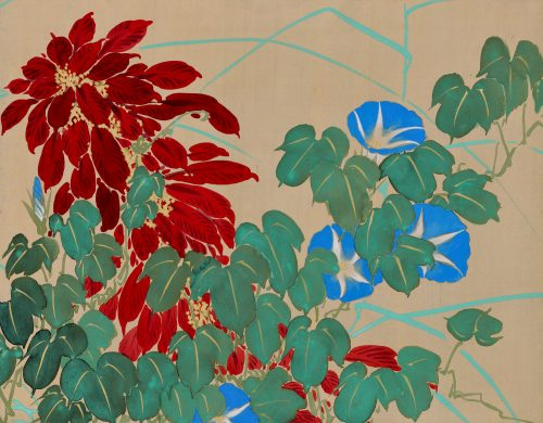Japanese rimpa screen pair by Takahashi Shuka (1877-1953). Image of morning glory.