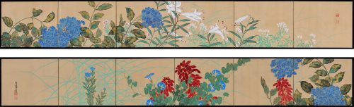 Japanese rimpa screen pair by Takahashi Shuka (1877-1953). Image of pair.