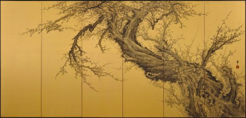 Japanese folding screen pair. Plum Blossoms by Kawakami Koritsu (1869-1957). Right screen.