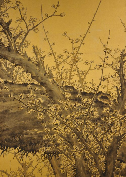 Japanese folding screen pair. Plum Blossoms by Kawakami Koritsu (1869-1957). Right screen close-up.