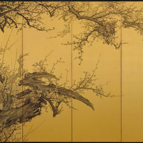 Japanese folding screen pair. Plum Blossoms by Kawakami Koritsu (1869-1957). Left screen.