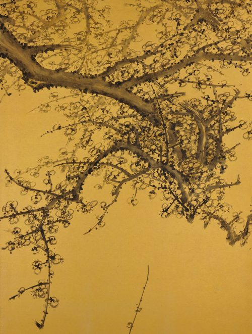Japanese folding screen pair. Plum Blossoms by Kawakami Koritsu (1869-1957). Left screen detail.