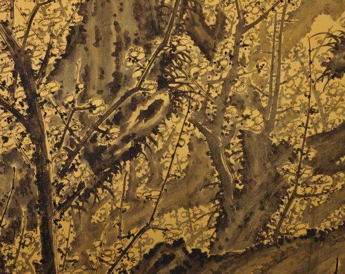 Japanese folding screen pair. Plum Blossoms by Kawakami Koritsu (1869-1957). Left screen close-up.