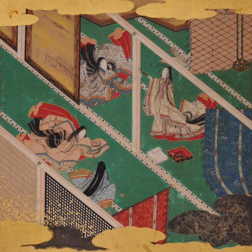 17th Century Japanese Tale of Genji Painting - Chapter 31, Makibashira. Album leaf.