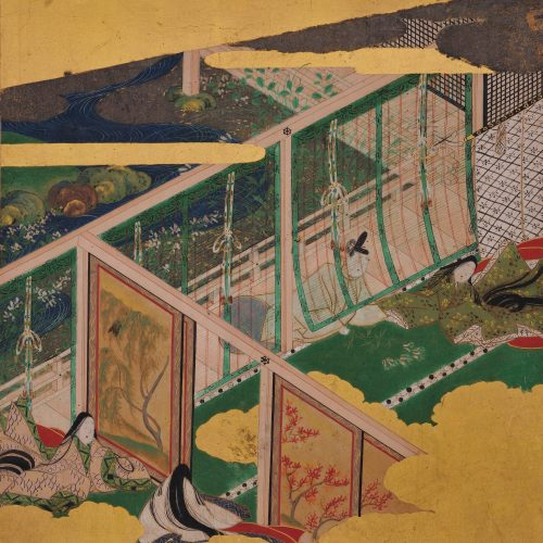 Tale of Genji 17c Japanese painting. Chapter 30, Fujibakama . Album leaf. Yuugiri detail.