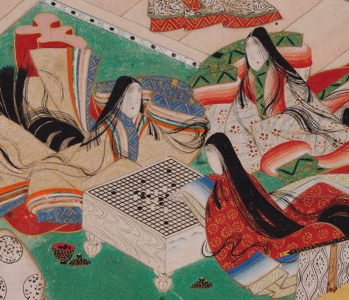 Tale of Genji 17c Japanese painting. Chapter 44, Takekawa. Album leaf. Tamakazura's daughters.