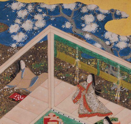 Tale of Genji 17c Japanese painting. Chapter 44, Takekawa. Album leaf. Cherry blossom garden.