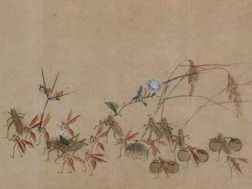 Yokoyama Seiki (1792-1864). Insects in parody of a daimyo procession. Detail of retinue.