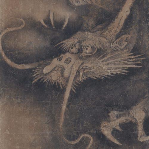 Japanese artist Soga Nichokuan (ca 1625-1660). Japanese dragon painting. Hanging scroll pair. Dragon image detail.