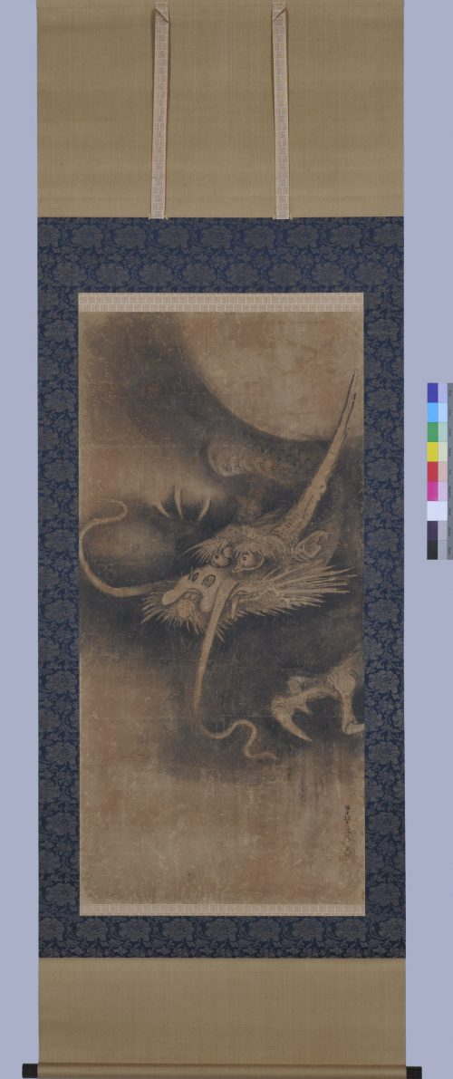 Japanese artist Soga Nichokuan (ca 1625-1660). Japanese dragon painting. Hanging scroll pair. Dragon scroll full image.
