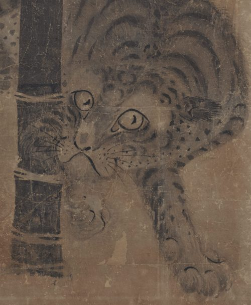 Japanese artist Soga Nichokuan (ca 1625-1660). Japanese tiger painting. Hanging scroll pair. Image of tiger scroll detail.