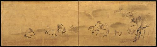 Japanese artist Kano Tanshin Morimasa (1653-1718). Japanese horse screen painting. Full screen image.