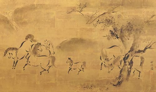 Japanese artist Kano Tanshin Morimasa (1653-1718). Japanese horse screen painting. Full screen. Detailed image.