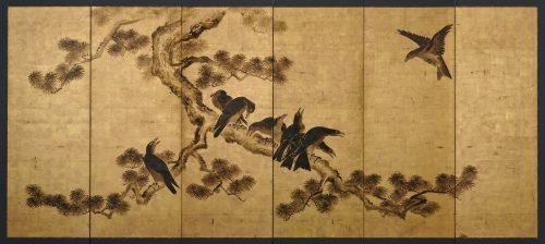 Japanese artist Kano Chikanobu (1660-1728). Crow and pine. Japanese folding screen painting. Image of full screen.