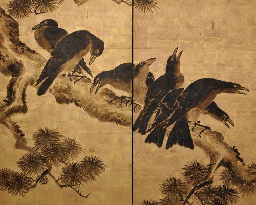 Japanese artist Kano Chikanobu (1660-1728). Crow and pine. Japanese folding screen painting. Image of detail.